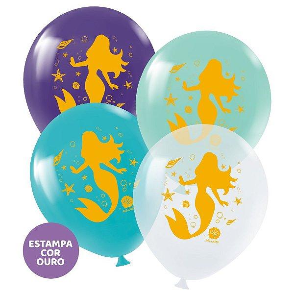 """Balão de Festa Redondo Profissional Látex Decorado 11"""" 28cm - Sereia - 25 Unidades - Art-Latex - Rizzo Embalagens"""