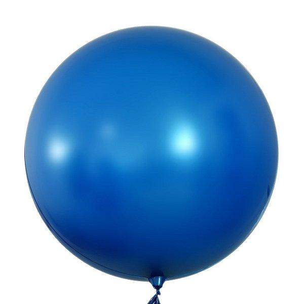 """Balão de Festa Bubble Cromado Azul 24"""" 60cm - 01 Unidade - Mundo Bizarro - Rizzo"""