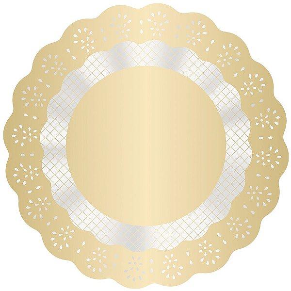 Fundo Rendadinho Redondo Ouro - 100 unidades - Cromus - Rizzo