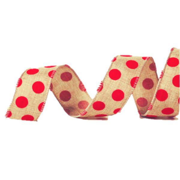 Fita Aramada Natural com Bolas Vermelhas 3,8cm x 9,14m - 01 unidade - Cromus Natal - Rizzo Embalagens