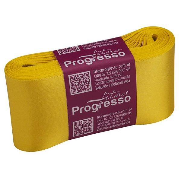 Fita de Cetim CF012 50mm - 10m Cor 763 Amarelo Gema - 01 unidade - Progresso - Rizzo Embalagens