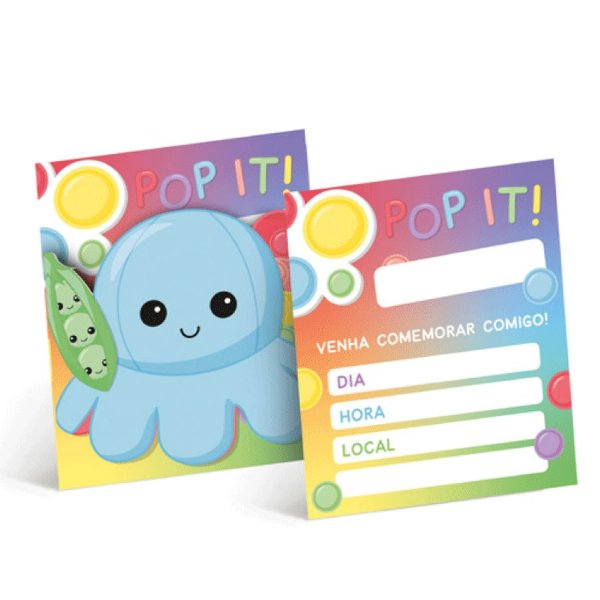 Convite de Aniversário Festa Fidget Toys - 8 unidades - Cromus - Rizzo Embalagens