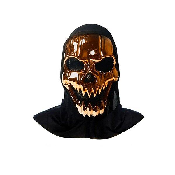 Máscara Luxo - Halloween - Caveira com Capuz - Bronze - 01 unidade - Rizzo
