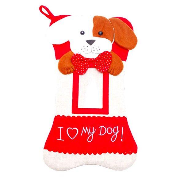Bota Natalina - Pet Cachorro - Vermelho/Bege - 01 unidade - Cromus Natal - Rizzo
