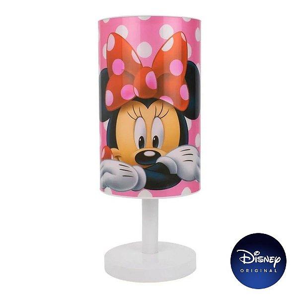 Luminária Abajur Mesa Minnie Mouse Disney Jr - Lâmpada Bivolt - Disney Original - 1 Un - Rizzo