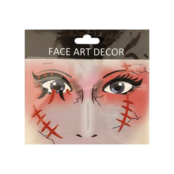 Adesivo Facial Halloween - Face Art Decor - Cicatriz - Vermelho/Preto - 01 unidade - Rizzo Embalagens