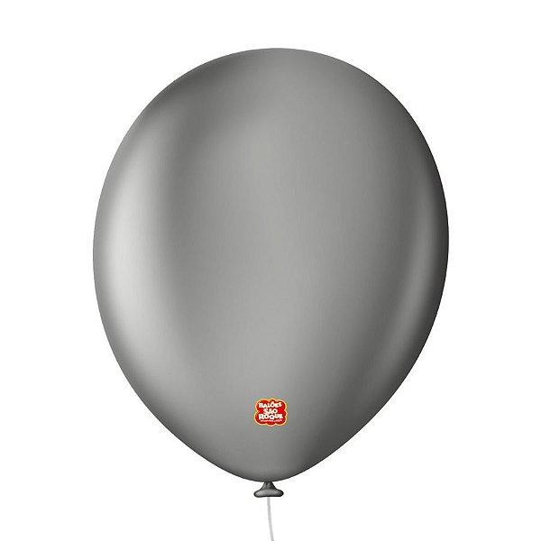 """Balão Profissional Premium Uniq 11"""" 28cm - Cinza Granito - 15 unidades - Balões São Roque - Rizzo Embalagens"""