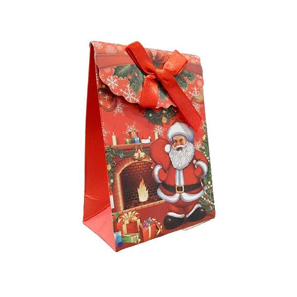 Mini Sacola Lembrancinha Vermelha Papai Noel Lareira - 10cm - 1 UN - Rizzo