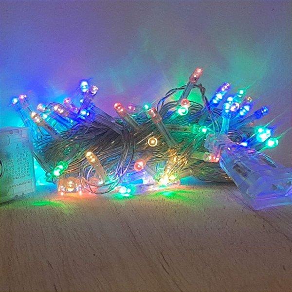 Cordão de LED Luz Colorida com Fio Incolor 100 Leds 5m 220V - 1unidade - Cromus Natal - Rizzo