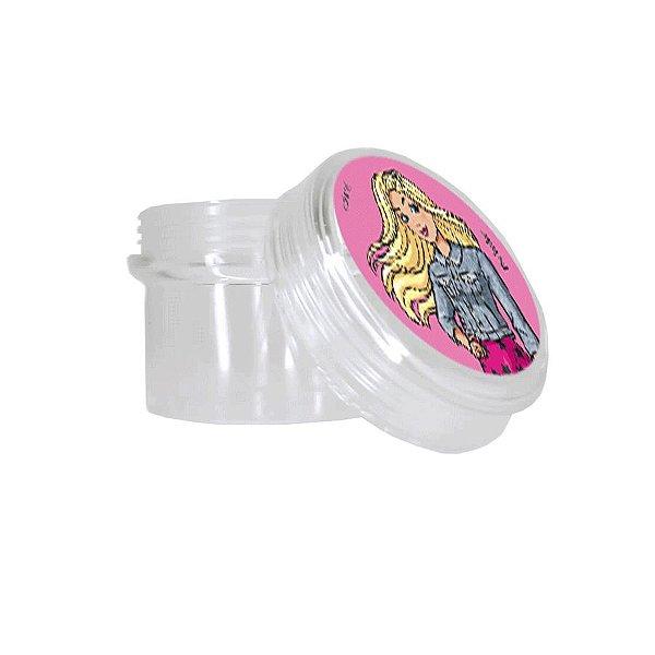Potinho Acrílico Redondo Tampa Rosqueável Festa Barbie - 80ml - 4,8cm x 5cm - 20 unidades - Rizzo Embalagens