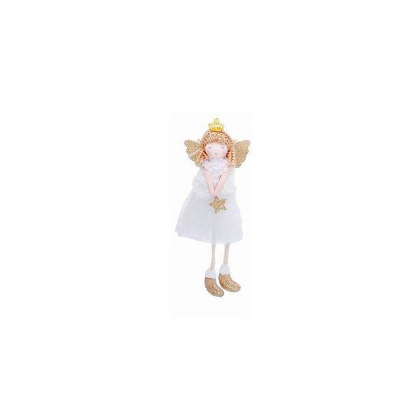 Enfeite para Pendurar Anjo Branco Estrela - 01 unidade - Cromus Natal - Rizzo