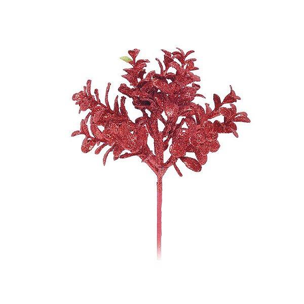 Enfeite de Natal Pick Folhas Glitter 30x16x16cm Vermelho - 1 UN - Cromus - Rizzo Embalagens