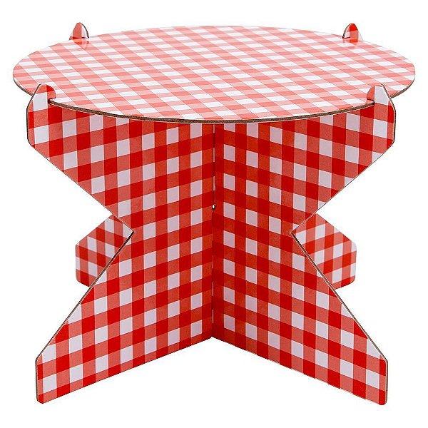 Boleira Desmontável Redonda - Vichy Vermelho - 01 unidade - Mesa Festa - Rizzo Embalagens