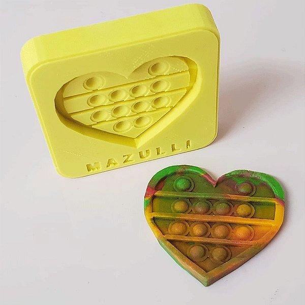 Molde de Silicone 2315 Festa Pop It Fidget Toy Coração - 01 Unidade - Mazulli - Rizzo Embalagens