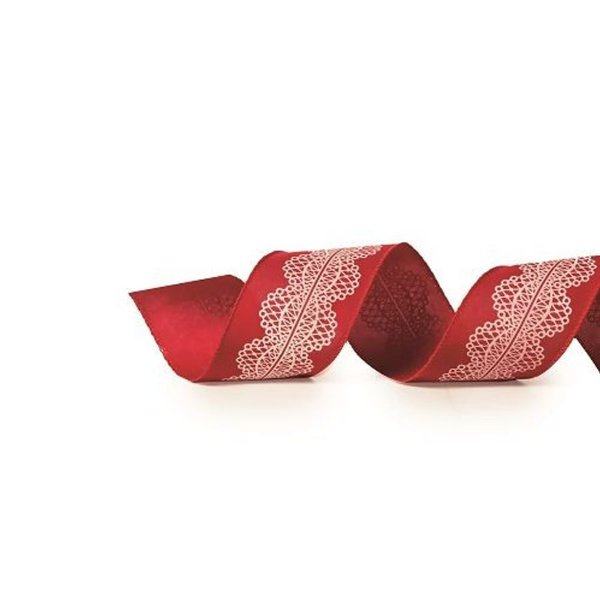 Fita Decorativa Natal Lisa Renda - Vermelho & Branco - 6,3x914cm - 1 UN - Cromus - Rizzo