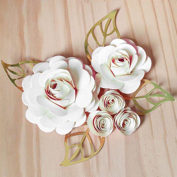 Decoração para Bolo em Papel - Folha e Flor G - Dourado/Branco - 01 unidade – MaxiFormas - Rizzo Embalagens