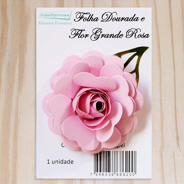 Decoração para Bolo em Papel - Folha e Flor G - Dourado/Rosa - 01 unidade – MaxiFormas - Rizzo Embalagens