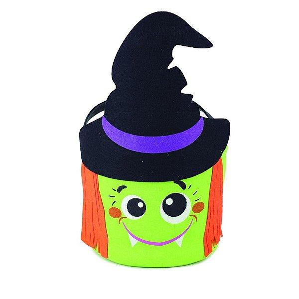Decoração Cesta de Tecido Bruxinha Halloween Cromus Rizzo