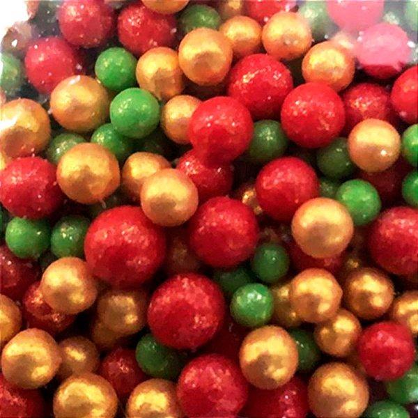 Confeito Pérolas - Verde Amarelo e Vermelho - 60g - 1 UN - Morello - Rizzo