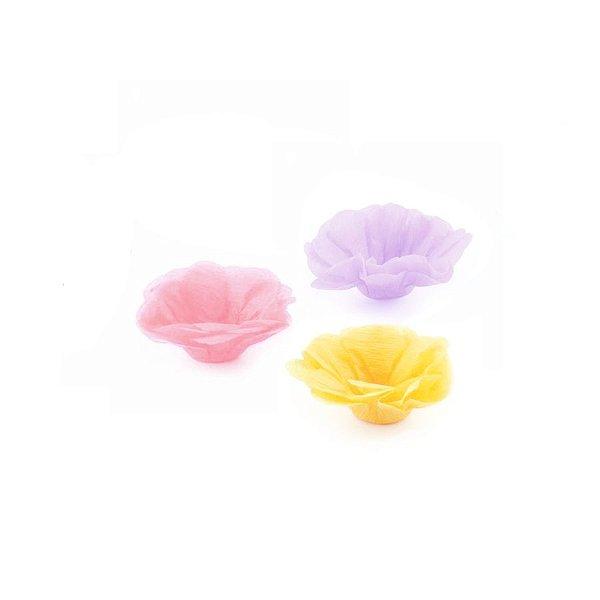 Forminha Flor - Candy - Rosa Amarelo Lilás - 50 UN - MaxiFormas - Rizzo