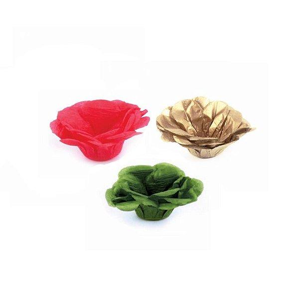 Forminha Flor - Natal - Verde Vermelho Dourado - 50 UN - MaxiFormas - Rizzo