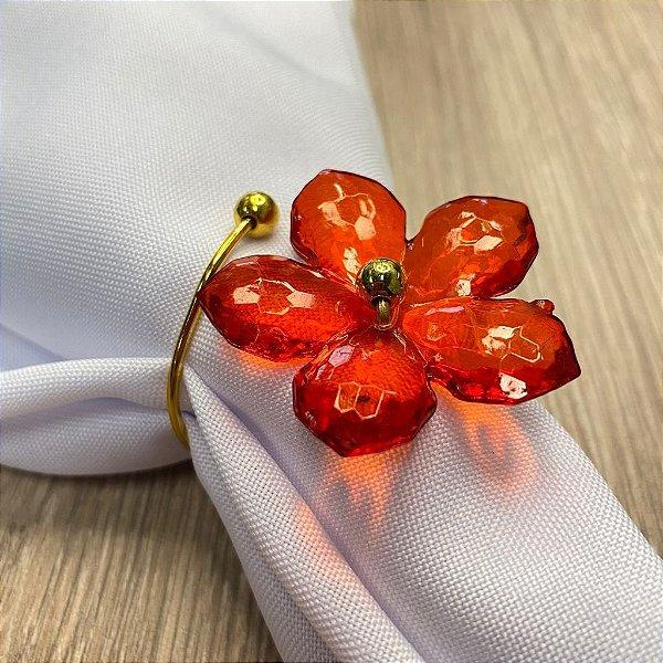 Porta Guardanapo Aramado Arame Dourado com Flor Vermelha 01 Unidade Rizzo Embalagens