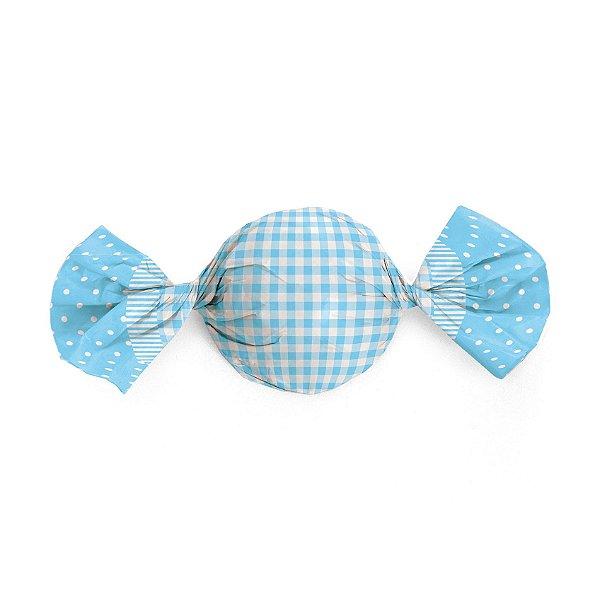 Papel Trufa 15x16cm - Xadrez Poa Azul - 100 unidades - Cromus - Rizzo Embalagens