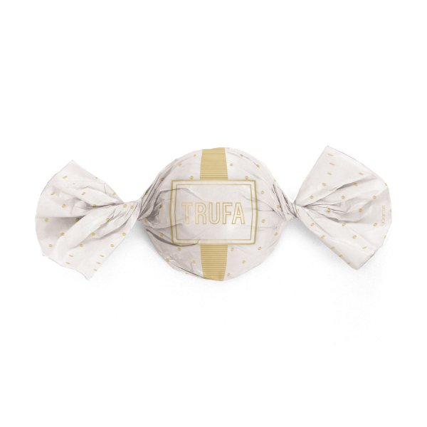 Papel Trufa 15x16cm - Petit Poa Branco Ouro - 100 unidades - Cromus - Rizzo Embalagens