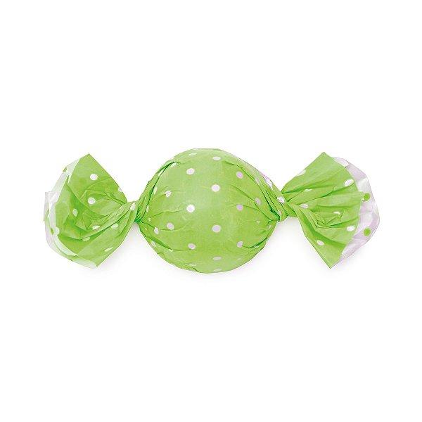 Papel Trufa 15x16cm - Poa Double Face Verde - 100 unidades - Cromus - Rizzo Embalagens