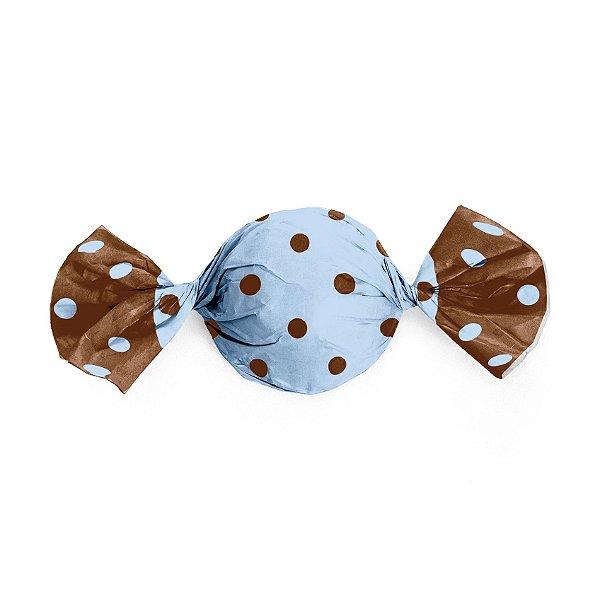 Papel Trufa Poa Azul Marrom 14,5x15,5cm - 100 unidades - Cromus - Rizzo Embalagens