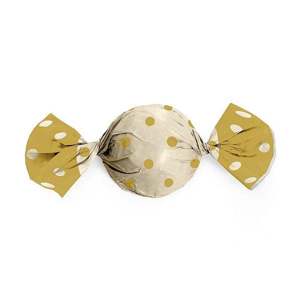 Papel Trufa 14,5x15,5cm - Marfim Poa Ouro - 100 unidades - Cromus - Rizzo Embalagens