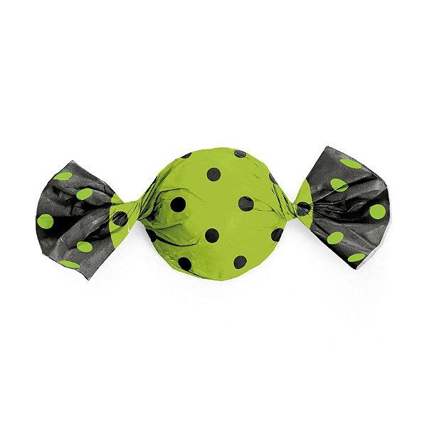 Papel Trufa Verde com Poa Preto 15x16cm - 100 unidades - Cromus - Rizzo Embalagens