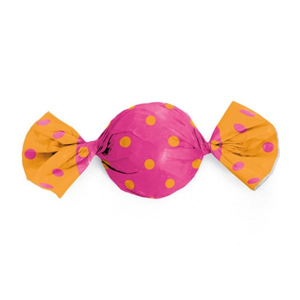 Papel Trufa Poa Laranja com Rosa 14,5x15,5cm - 100 unidades - Cromus - Rizzo Embalagens