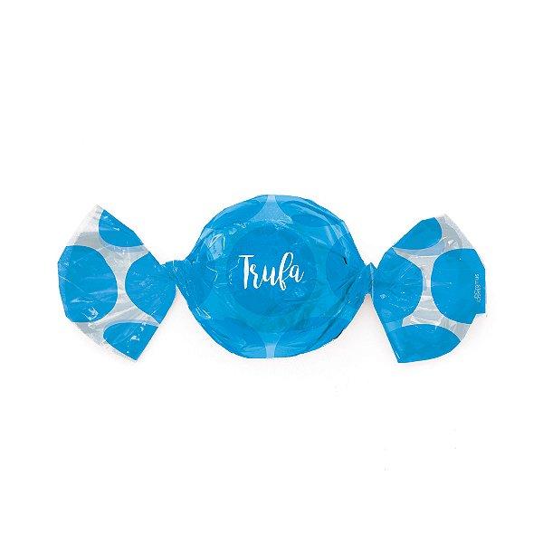 Papel Trufa 15x16cm - Gran Poa Azul - 100 unidades - Cromus - Rizzo Embalagens