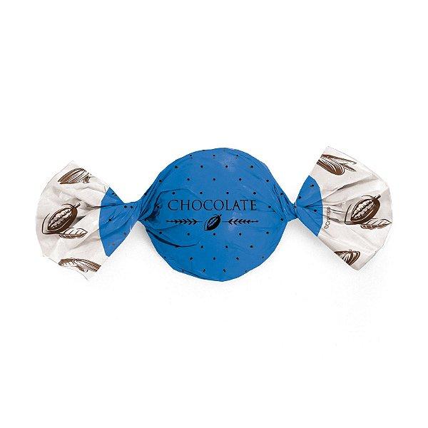 Papel Trufa 15x16cm - Cacau Azul - 100 unidades - Cromus - Rizzo Embalagens