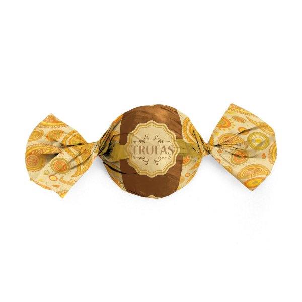 Papel Trufa 15x16cm - Dulce Amarelo Laranja - 100 unidades - Cromus - Rizzo Embalagens