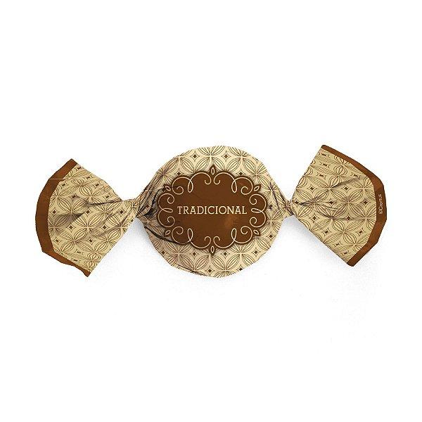 Papel Trufa 15x16cm - Gostosura Tradicional Ouro - 100 unidades - Cromus - Rizzo Embalagens
