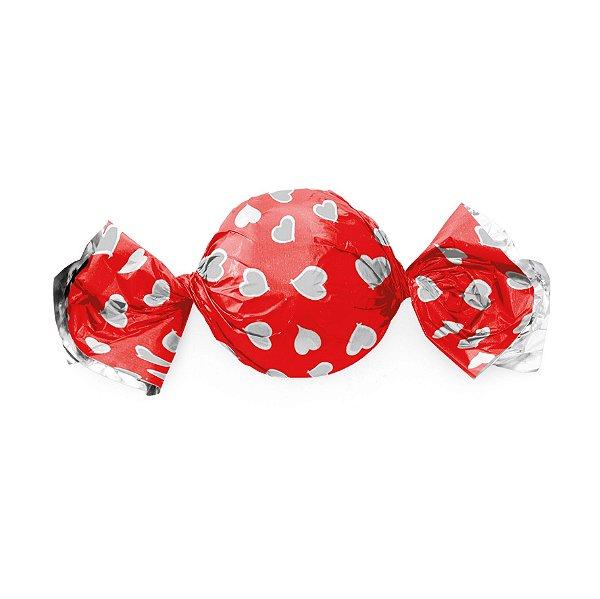 Papel Trufa 15x16cm - Coracao Vermelho - 100 unidades - Cromus - Rizzo Embalagens