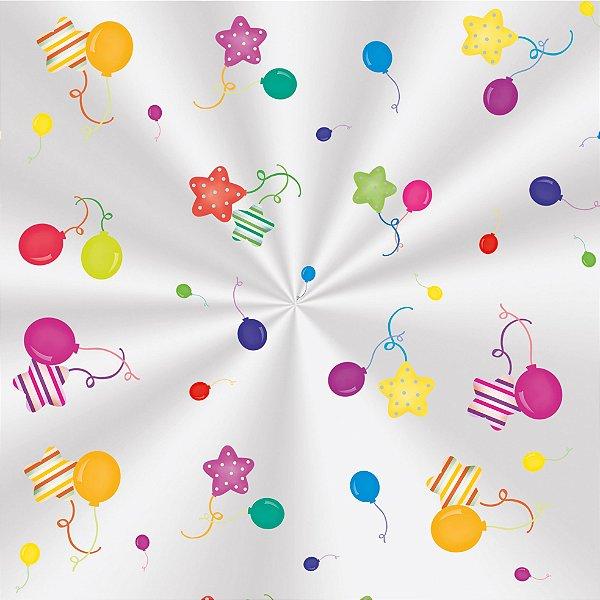 Saco Transparente Decorado Colors Balloons - 11x19,5cm - 100 unidades - Cromus - Rizzo Embalagens