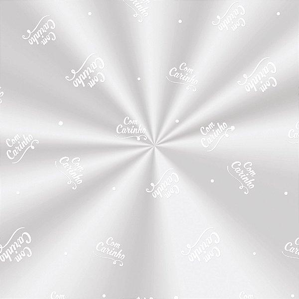 Saco Decorado Carinho Branco - 15x22cm - 100 unidades - Cromus - Rizzo Embalagens