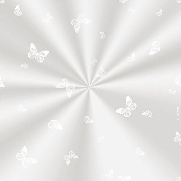 Saco Decorado Borboleta Branca - 15x29cm - 100 unidades - Cromus - Rizzo Embalagens