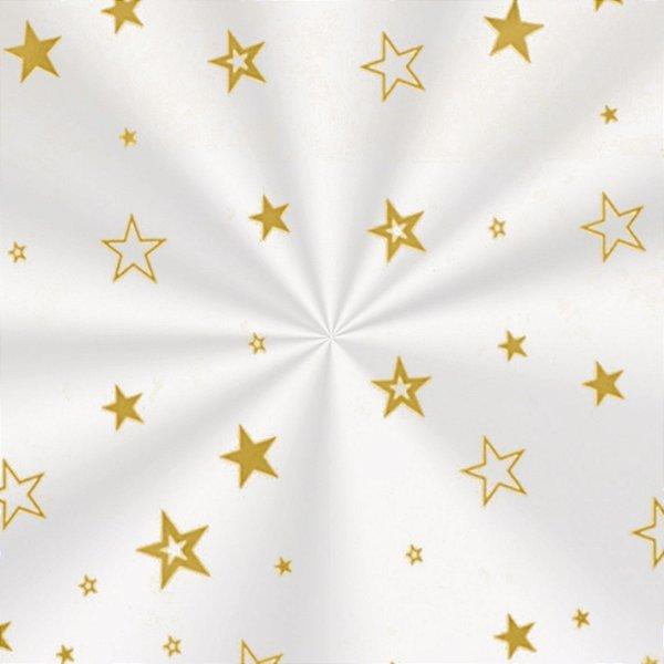 Saco Decorado Estrela Ouro - 25x37cm - 100 unidades - Cromus - Rizzo Embalagens
