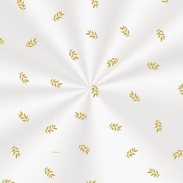 Saco Decorado Raminhos Ouro - 30x44cm - 100 unidades - Cromus - Rizzo Embalagens