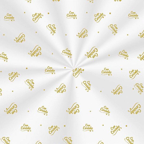 Saco Decorado Carinho Ouro - 30x44cm - 100 unidades - Cromus - Rizzo Embalagens