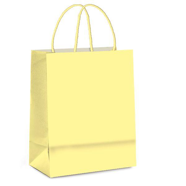 Sacola de Papel P Amarelo Bebê - 21,5x15x8cm  - 10 unidades - Cromus - Rizzo Embalagens