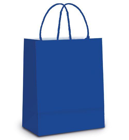 Sacola de Papel P 21,5x15x8cm - Azul Royal - 10 unidades - Cromus - Rizzo Embalagens