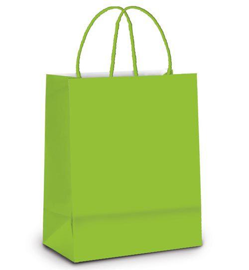 Sacola de Papel P 21,5x15x8cm - Verde Claro - 10 unidades - Cromus - Rizzo Embalagens
