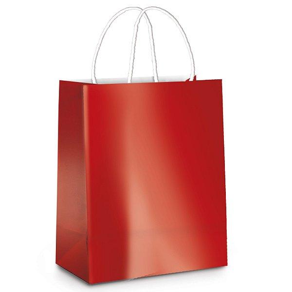 Sacola de Papel P 21,5x15x8cm -Vermelho Metalizado - 10 unidades - Cromus - Rizzo Embalagens