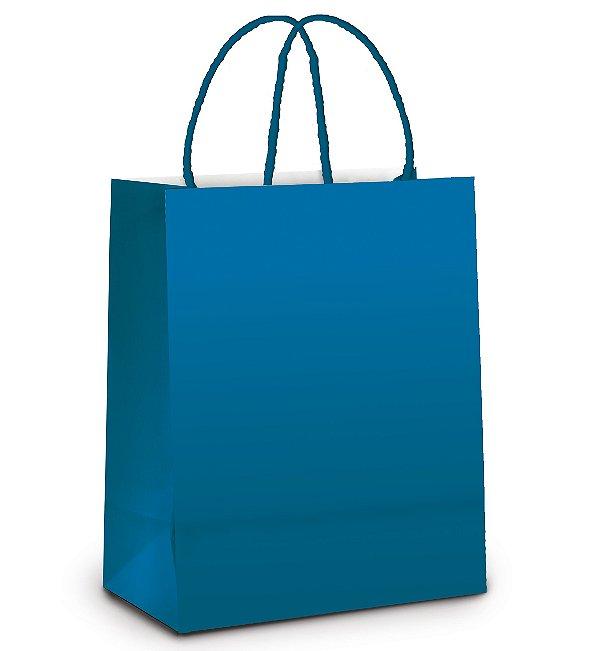 Sacola de Papel P 21,5x15x8cm - Azul Intenso Metalizado Fosco - 10 unidades - Cromus - Rizzo Embalagens