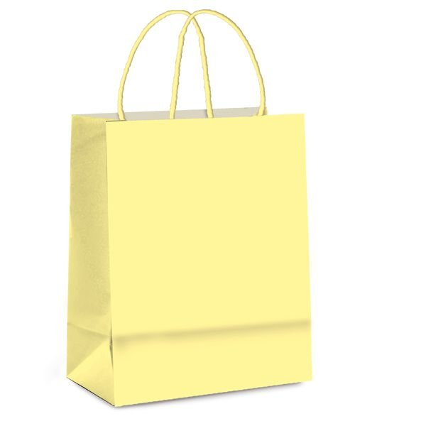 Sacola de Papel M 26x19,5x9,5cm - Amarelo Bebê - 10 unidades - Cromus - Rizzo Embalagens